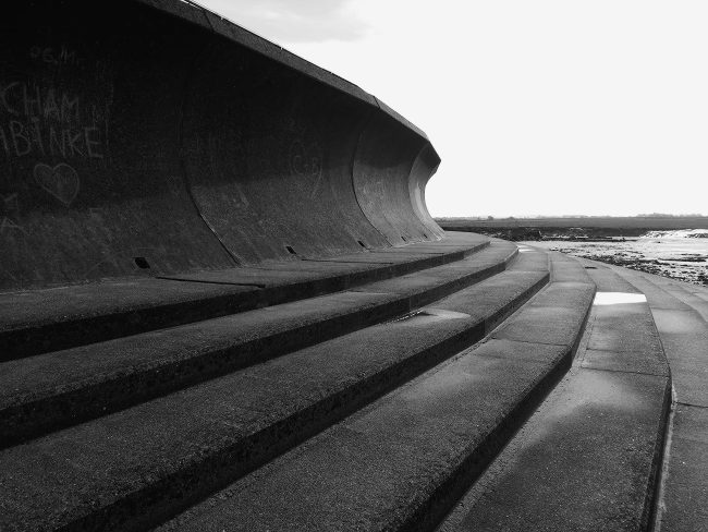 Grey concrete in black-and-white.