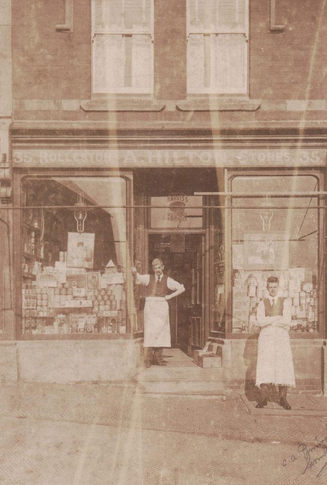 Edwardian photograph: a grocer's shop.