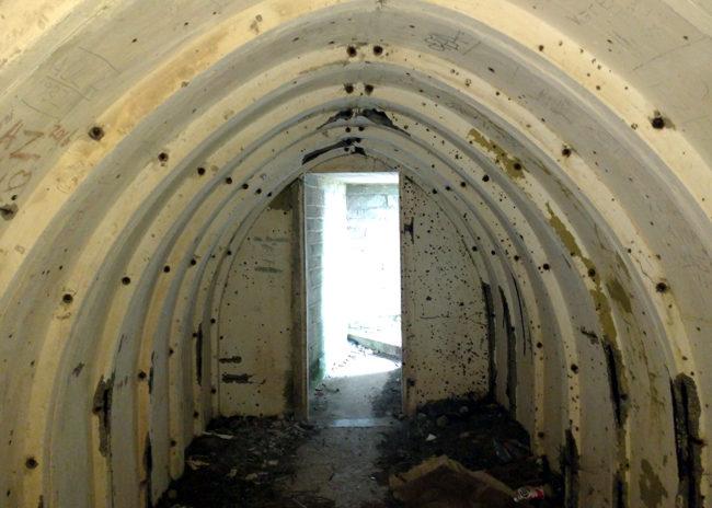 Inside a shelter.