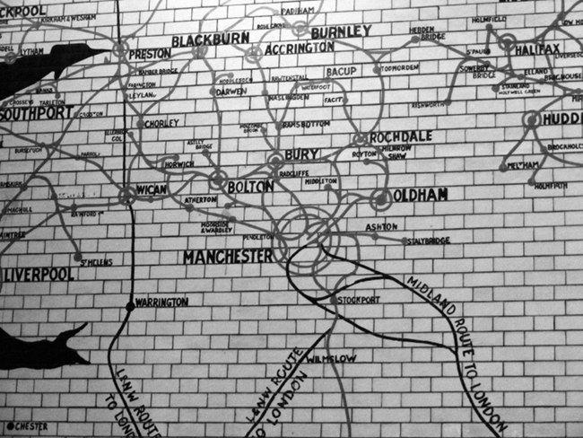 Map of the North West at Manchester Victoria Station.