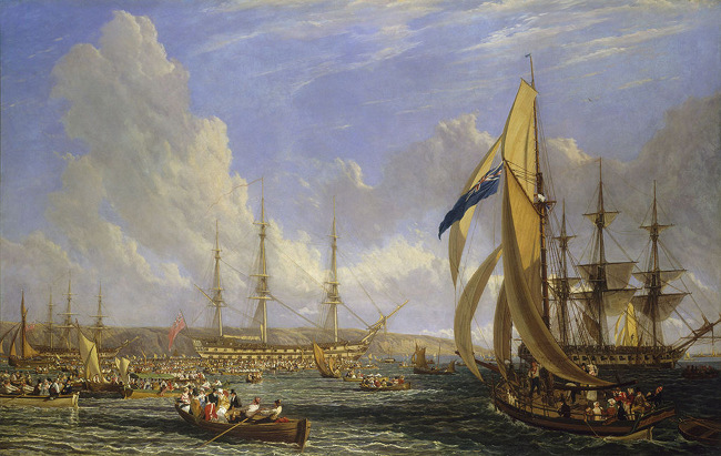 A painting of ships.