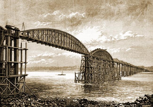 The Severn Bridge under construction.