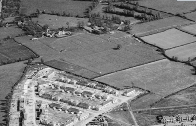 1947 aerial photo in black and white.