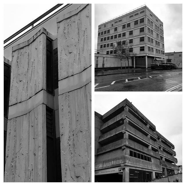 Collage of brutalist buildings.