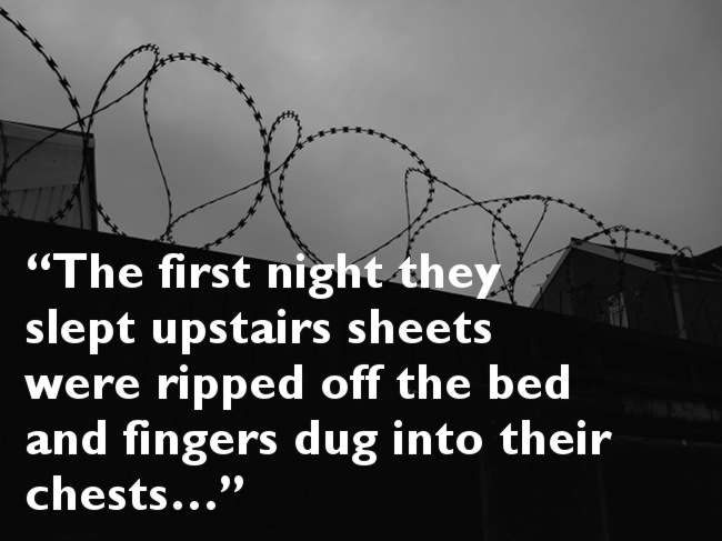 Barbed wire with pull quote from below.