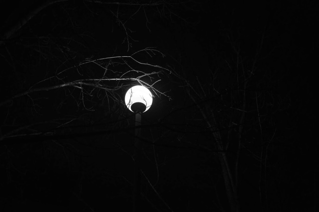 A streetlight at night.