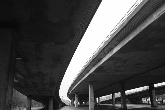 Underneath a motorway.