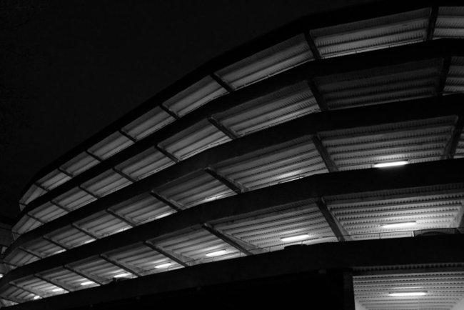 Car park at night.