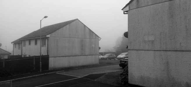 A foggy housing estate.