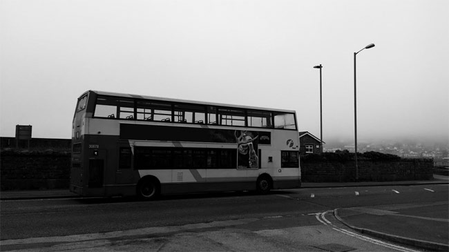 A parked bus.