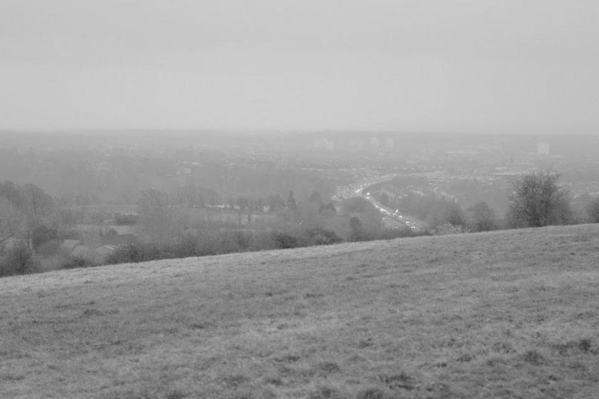 The motorway below.