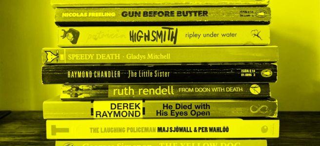 A pile of slim crime novels.